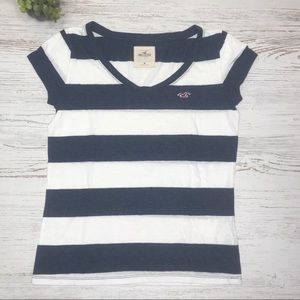 Striped White and navy blue Short Sleeve Top